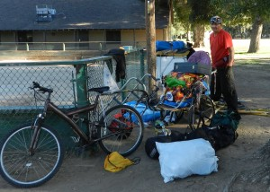 Homeless Transport: Wheelchair Attached to Bicycle