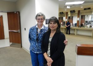 Gail Altieri and Linda Santos after courtroom victory