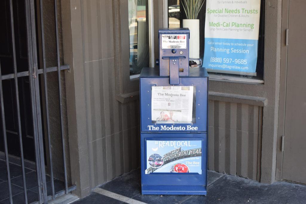 Newspaper vend machine for The Modesto Bee