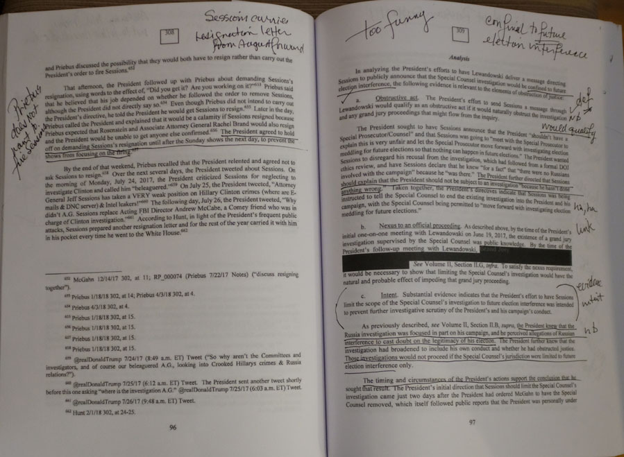 Mark ups of inside pages of Muller Report