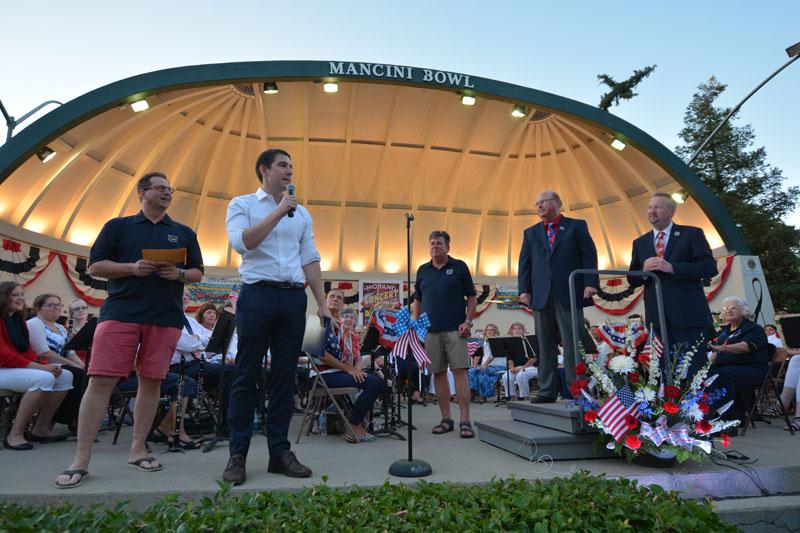 Josh Harder speaking at Mancini Bowl in Modesto