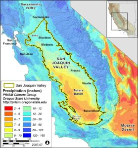 Map of precipitation in California