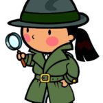Illustration of girl detective