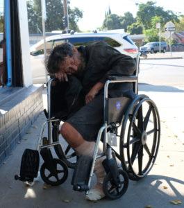 Alan Davis rests in wheelchair