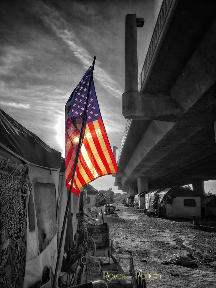 Flag at the Modesto Outdoor Emergency Shelter