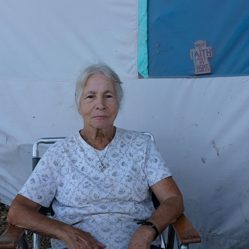 Elderly woman at Modesto Outdoor Emergency Shelter